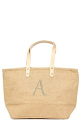 Cathy's Concepts 'Nantucket' Monogram Jute Tote Beige Natural A