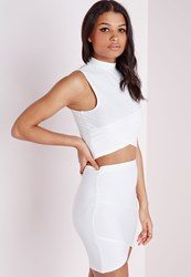 Missguided Bandage Wrap Over Sleeveless Crop Top White