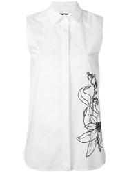 Eggs Flower Print Sleeveless Shirt Women Cotton Polyamide Spandex Elastane 44 White