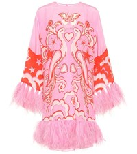 Valentino Feather Trimmed Silk Minidress Pink