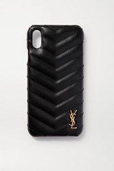 Saint Laurent Embellished Quilted Leather Iphone Xs Max Case Black