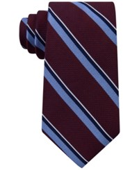 Tommy Hilfiger Men's Grenadine Stripe Tie Burgundy