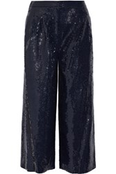 Tibi Nerd Cropped Sequined Crepe Wide Leg Pants Navy