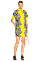 3.1 Phillip Lim Short Sleeve Surf Floral Dress In Black Floral Yellow Black Floral Yellow