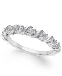 Macy's Diamond Swirl Band 1 2 Ct. T.W. In 14K White Gold