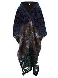 Biyan Brocade And Floral Embroidered Shawl Blue