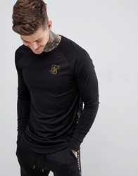 Sik Silk Siksilk Sweatshirt In Black With Gold Side Stripe