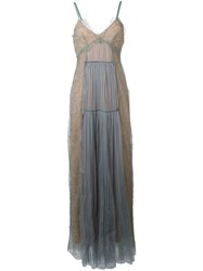 Alberta Ferretti Lace Overlay Slip Dress Blue