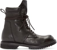 Rick Owens Black Leather Lace Up Army Boots