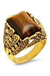 Steeltime 18K Gold Plated Stainless Steel Gothic Inspired Tiger's Eye Ring Metallic