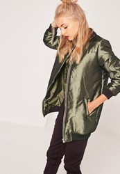 Missguided High Shine Longline Padded Bomber Jacket Khaki