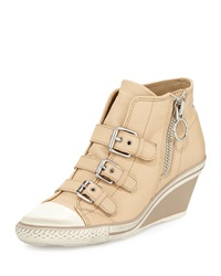 Ash Gin Bis Buckled Leather Wedge Sneaker Clay