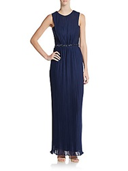 Js Boutique Embellished Fortuny Pleated Gown