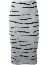 Zoe Karssen Tiger Print Pencil Skirt Grey
