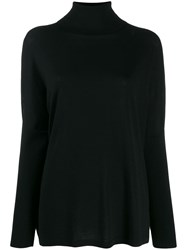 Allude Ribbed Roll Neck Jumper Black