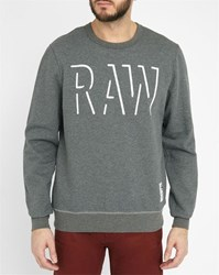G Star Grey Vasif Raw Logo Round Neck Sweatshirt