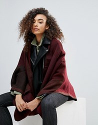 Nali Two Tone Cape Scarf Red