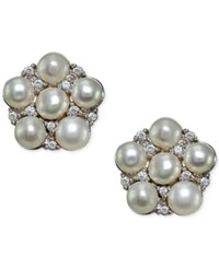 Giani Bernini Freshwater Pearl 3Mm And Cubic Zirconia Cluster Stud Earrings In Sterling Silver Only At Macy's