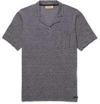 Burberry Striped Cotton And Linen Blend Polo Shirt Navy