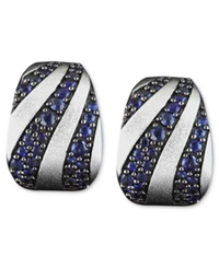Effy Collection Balissima By Effy Sapphire Stripe Mini Hoop Earrings 2 3 8 Ct. T.W. In Sterling Silver