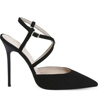 Office Here We Go Strappy Suede Courts Black Suede