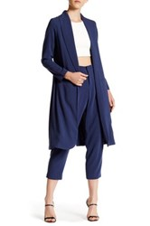 Abs By Allen Schwartz Shawl Collar Open Duster Blue