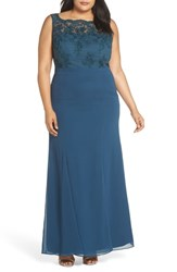 Chi Chi London Plus Size Embroidered Gown Green