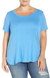 Sejour Plus Size Women's Scoop Neck Tee Blue Lapis