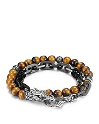 John Hardy Men's Naga Double Wrap Link Bracelet With Tiger's Eye Brown
