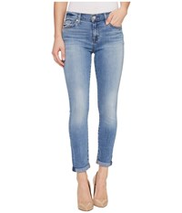 7 For All Mankind Skinny Crop Roll W Squiggle In Willow Ridge Willow Ridge Women's Capri Blue