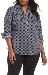 Foxcroft Plus Size Mary Graphic Dot Shirt Black