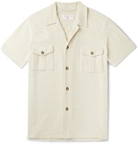 Orlebar Brown 007 Diamonds Are Forever Slim Fit Camp Collar Cotton Terry Shirt Ecru