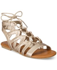 American Rag Marlie Lace Up Sandals Only At Macy's Women's Shoes Gold