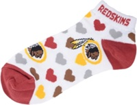 For Bare Feet Women's Washington Redskins Heart Logo Repeat Socks White Maroon