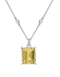 Crislu In Vogue Handset Canary Sterling Silver Pendant Necklace