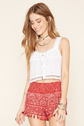 Forever 21 Abstract Print Tassel Shorts