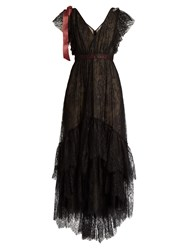 Erdem Perry Embellished Floral Embroidered Tulle Gown Black