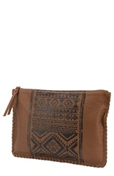 Volcom Faux Leather Print Clutch Brown