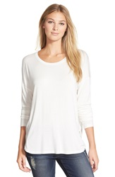 Nic Zoe 'Waltz' High Low Long Sleeve Tee Paper White
