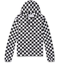Mcq By Alexander Mcqueen Checkerboard Loopback Cotton Jersey Hoodie White