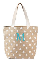 Cathy's Concepts Personalized Polka Dot Jute Tote White White M