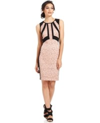 Ivanka Trump Sleeveless Glitter Lace Colorblock Sheath