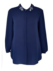 Wallis Navy Embellished Collar Longline Top
