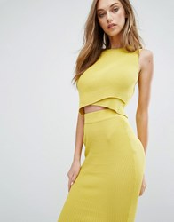 Missguided Ribbed Wrap Front Sleeveless Crop Top Chartreuse Green