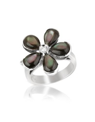 Del Gatto Diamond And Black Mother Of Pearl Flower 18K Gold Ring Multicolor