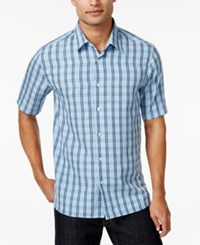 John Ashford Men's Fisher Plaid Short Sleeve Shirt Only At Macy's Lupine Blue