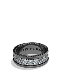 David Yurman Pave Three Row Ring With Grey Sapphire In Black Titanium Black Silver