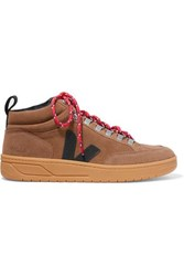Veja Net Sustain Roraima Suede And Leather High Top Sneakers Brown