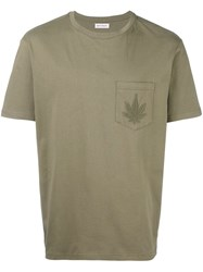 Palm Angels Embroidered Breast Pocket T Shirt Green