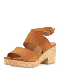 Coclico Match Low Heel Cork Sandal Velour Black